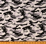 Cotton Winter Camoflauge Hunting Whites Grays Blacks Cotton Fabric Print by the Yard (107939)