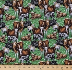 Cotton Down On The Farm Cows Cow Steer Calves Calf Heifer Farmyard Animals Cotton Fabric Print by the Yard (8184)