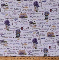 Cotton Kitchen Baking Food Recipe Book Lavender Flowers Scones Pastry Chef Purple Everyday Favorites Digital Cotton Fabric Print by the Yard (AMK-17448-23)