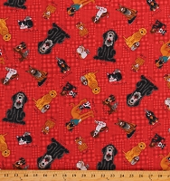Cotton Dogs Puppies A Man's Best Friends Rescued and Loved Red Cotton Fabric Print by the Yard (9391-88)