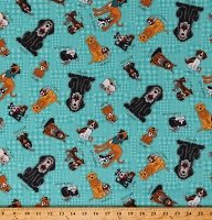 Cotton Dogs Puppies A Man's Best Friends Rescued and Loved Blue Cotton Fabric Print by the Yard (D768.46)(9391-76)