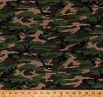 Cotton Hunting Military Camoflauge Greens Browns Cotton Fabric Print by the Yard (9320M-1E)