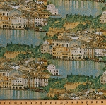 Cotton Italian Cityscape Towns Houses Malcesine on Lake Garda Gustav Klimt Oil Painting Look Travel Gold Shimmer Cotton Fabric Print by the Yard (SRKM-18656-73 LAKE)