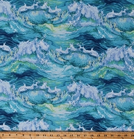 Cotton Landscape Waves Ocean Surf Water Sea Nautical Blue Green Cotton Fabric Print by the Yard (5008-16)