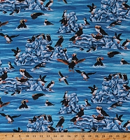 Cotton Puffins Birds Seabirds Animals Ice Blue Water The Last Frontier Digital Cotton Fabric Print by the Yard (SRKD-8864-246WATER)