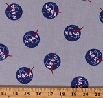 Cotton NASA Logo Space Aeronautics Out of This World With NASA Gray Cotton Fabric Print by the Yard (C7800-GRAY)