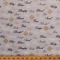 Cotton Christian Words Christianity Prayer Faith Hope Love Praise Joy Appreciation Gray Cotton Fabric Print by the Yard (52498M-4)
