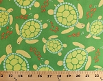 Cotton Swimmin' in the Sea Sea Turtles Fish Ocean Animal Green Cotton Fabric Print by the Yard (pc6616-seax-d)