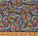Cotton Colorful Geometric Disco Look Patterned Feathers & Foliage Cotton Fabric Print by the Yard (1893-70457-769)