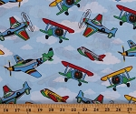 Cotton Airplanes Biplanes Planes Transportation Vehicles Clouds on Blue Sky Cotton Fabric Print by the Yard (9165T-11D)