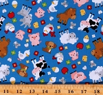 Cotton Farm Animals Cows Sheep Horses Pigs Piggies Piglets Chickens Hens Chicks Ducks Goats Cats Dogs Mice Flies Apples Flowers Down on the Farm Kids Blue Cotton Fabric Print by the Yard (C10071-BLUE)