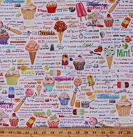 Cotton Ice Cream Cupcakes Popsicles Fruit Recipes Sweets Treats Desserts Bakery Baking Words Sweet Tooth White Cotton Fabric Print by the Yard (AMKD-19823-287SWEET)