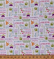 Cotton Vegetables Garden Puns Food Planted With Love Words of Seed White Cotton Fabric Print by the Yard (10152-09)