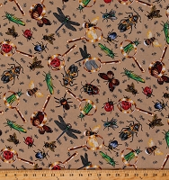 Cotton Insects Bugs Beetles Ants Dragonflies Grasshoppers Bees Science Magnifying Glasses Tan Cotton Fabric Print by the Yard (5741C-6B)