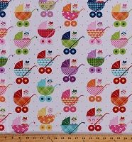 Cotton Babies in Strollers Baby Carriage Buggy Cutie Tootie Kids Cotton Fabric Print by the Yard (1490-281)