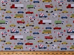 Cotton Kids Trucks Cars Taxi School Bus Beep Rumble Traffic Light Grey Keep on Truck'n Transportation Cotton Fabric Print by the Yard (Y2675-5lightgray)