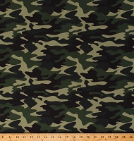 Cotton Camouflage Hunting Mancave Camping Army Green Cotton Fabric Print by the Yard (C10420)