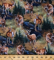 Cotton Deer Animals Woodland Nature Scenic Stoney Brook Scenic Brown Cotton Fabric Print by the Yard (49485-A620715P)