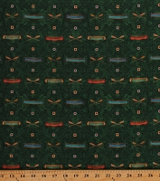 Cotton Camping Canoes Oars on Green Southwestern Canoeing Cotton Fabric Print by the Yard (1649-26735-F)
