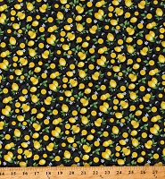 Cotton Food Lemons Fruits Yellow Cotton Fabric Print by the Yard (FRUIT-C8019-BLACK)