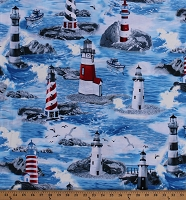 Cotton Lighthouses on the Ocean Wild Sea Coastal Fishing Boats Seagulls Birds Nautical Cotton Fabric Print by the Yard (MICHAEL-C7255)