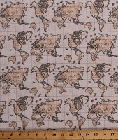 Cotton Maps Map of the World Atlas Cartography Continents Countries Travel Seven Seas Beige Cotton Fabric Print by the Yard (51382-2)