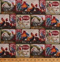 Cotton Roosters Chickens Rise and Shine Farmer's Market Farm Poultry Birds Fresh Eggs Fabric Print by the Yard (AL-3592-8C)
