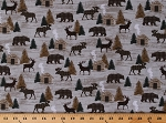 Cotton Cabin Northwoods Up North UP Woods Animals Wildlife Plaid Northern Lodge Twilight Lake Gray Cotton Fabric Print by the Yard (1695-33)