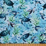 Cotton Ocean Sea Turtles Fish Cotton Blue Fabric Print by the Yard (SEA-C7955)