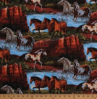 Cotton Horses Out West Southwestern Landscape Equestrian Wild Horses Animals Nature Cotton Fabric Print by the Yard (65190-A620715)
