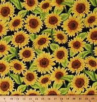 Cotton Sunflowers Sunflower Flowers Floral on Black Jardin Du Soleil Garden Gardening Country Farm Farmer's Market Cotton Fabric Print by the Yard (3022-957-32061)
