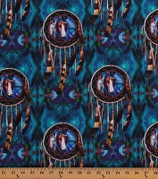 Cotton Southwestern Dreamcatchers Painted Horses Feathers Wild Horses Magical Equestrian Animals Teal Blue Cotton Fabric Print by the Yard (06663-84)