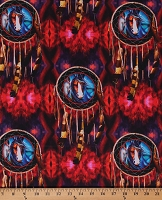 Cotton Southwestern Dreamcatchers Painted Horses Feathers Wild Horses Magical Equestrian Animals Red Purple Cotton Fabric Print by the Yard (06663-99)
