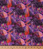 Cotton Painted Horses Allover Wild Horses Magical Equestrian Animals Multi-Color Purple Cotton Fabric Print by the Yard (06664-66)