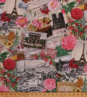 Cotton Spring in Paris Parisian Postcards Effiel Tower Flowers Floral Chic Travel Butterflies Cotton Fabric Print by the Yard (4900CREAM)