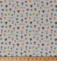 Cotton Little Farm Animals 4-H Cloverbuds Horses Sheep Llamas Cows Chickens 4-H Emblem on Cream Cotton Fabric Print by the Yard (C9122 CREAM)