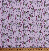 Cotton Pegasus Unicorn Flying Horses Fairytale Silver Glitter Sparkle Pink Kids Cotton Fabric Print by the Yard (KIDZ-CM7443)