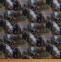 Cotton Black Bears In Wooded Forest Nature Northwoods Wildlife Animals Birch Trees Scenic Reluctant Companion Cotton Fabric Print by the Yard (49471-A620715P)