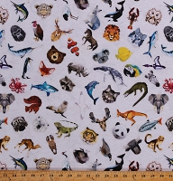 Cotton Tossed Animals Paper Origami Geometric Animals Sharks Elephants Bears Koalas Foxes Raccoons Zookeeper Papyrus Cotton Fabric Print by the Yard (R4640-531PAPYRUS)