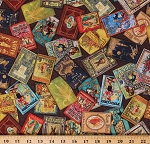 Cotton Library Books Covers Authentic Antique-look Classics Fairytales Cotton Fabric Print by the Yard (ATXD-19601-199ANTIQUE)