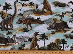 Cotton Dinosaurs Animals Prehistoric Ancient Landscape Multicolor Cotton Fabric Print by the Yard (DINO-C8102-MULTI)