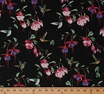 Cotton Fuchsias and Hummingbirds Ruby-throated Hummingbird Birds Flowers Spring Floral Nature on Black Cotton Fabric Print by the Yard (Y2354-3BLACK)
