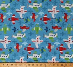 Cotton Airplanes Aviation Airplane Flying Air Show Transportation on Blue Cotton Fabric Print by the Yard (D776.56)