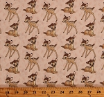 Cotton Bambi Toss Disney Characters Deer Animals on Pink Leaves Cotton Fabric Print by the Yard (67739-3890715)