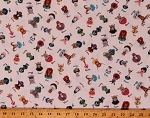 Cotton A-Z Alphabet Animals Words Zootopia Cream Cotton Fabric Print by the Yard (22002BEIGE)