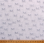 Cotton Animals Cats Kittens Sketch Drawing Pencil White Cotton Fabric Print by the Yard (P4347)