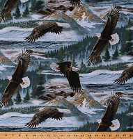 Cotton Eagles Soaring Along the Shores American Bald Eagle National Bird Birds Nature Scenic Cotton Fabric Print by the Yard (AL-3269-8C)