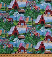 Cotton Farm Scenic Barns Windmills Tractors Clotheslines Flowers Chickens Country Udder Chaos Watercolor-Look Cotton Fabric Print by the Yard (9882-70)