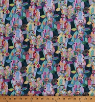 Cotton Cows Colorful Watercolor-Look Farm Animals Multi-Color on Teal Udder Chaos Cotton Fabric Print by the Yard (9878-76)