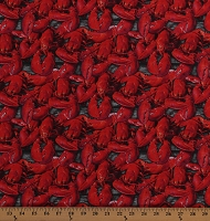Cotton Red Lobsters Seafood Ocean Animals on Gray Wood Grain A La Carte Cotton Fabric Print by the Yard (51903D-X)